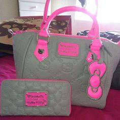 Pink & Grey Purse & Matching Wallet