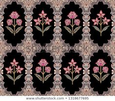 Find Traditional Paisley Colorful Pattern Black Background stock images in HD and millions of other royalty-free stock photos, illustrations and vectors in the Shutterstock collection. Thousands of new, high-quality pictures added every day. Textile Pattern Design, Flower Pattern Design, Textile Patterns, Pattern Art, Color Patterns, Border Pattern, Flower Art Images, Flower Pictures, Islamic Art Pattern