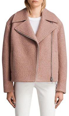 All Saints Biker Wool Peacoat. Boucle Jacket, Leather Jacket, Mode Mantel, Summer Coats, Jackets For Women, Clothes For Women, All Saints, Fashion Branding, Wool Coat