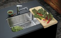 A stylish sink with crease bowl bottom for improved drainage and rear drains for more space below the counter.
