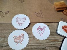 Rubber Stamp Personalised Stamp Hen Gift Chicken Stamp Speckled Hen Ex Libris Stamp Olive Wood Stamp  Library Stamp Hen Stamp