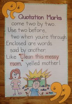 quotation anchor chart - Give every student a piece of copy paper and have them illustrate/copy this poster for their binders.  Copy quotation marks on colored paper and have students cut out and glue on.  Great idea!