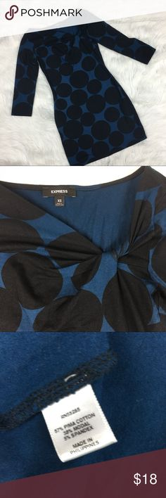 "Express Polka Dot dress size XS. Gorgeous black and blue Polka Dot dress by Express. Size XS. 14.5"" armpit to armpit laying flat. Sleeve- 17"". Length- 31"". Excellent Condition Express Dresses"