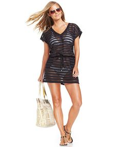 dc31cfffde4 Calvin Klein Open-Knit Striped Tunic Cover Up - Swimwear - Women - Macy s  Vacation