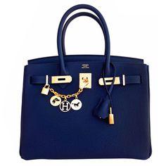 Hermes Navy Blue Nuit Togo 30cm Birkin Gold Hardware Bleu Nuit Jewel-Toned Navy | 1stdibs.com