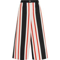 Dolce & Gabbana Cropped striped cotton-blend wide-leg pants ($745) ❤ liked on Polyvore featuring pants, capris, calças, dolce & gabbana, trousers, orange, slim-fit trousers, slim fit pants, wide leg cropped pants and wide leg trousers