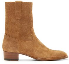 Suede mid-calf boots in tan. Almond toe. Pull-loops at collar sides. Zip closure at side. Stacked leather heel, approx. 1.5