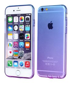iPhone 6 Plus Case,CLONG iPhone 6S Plus Cover Colorful Clear Shell Slim Case Translucent Impact Resistant Flexible TPU Soft Bumper Case Protective Shell for iPhone 6/6S Plus 5.5 inch(Blue&Purple)