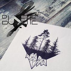 Dotwork forest polygonal mountain tattoo
