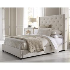 Wingback Button Tufted Cream Upholstered Queen Bed/ LOVE the height - makes volun seem larger with illusion of A tall ceiling.