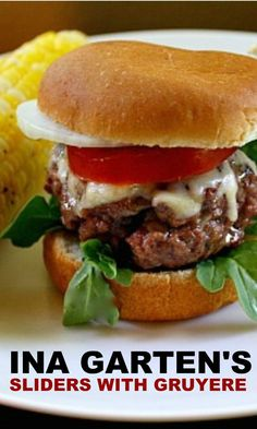 Ina Garten Sliders with Gruyere. Beef slider recipe with gruyere. Ina's party slider recipe with arugula tomato & onion. Ina recipes are best. Slider Recipes, Burger Recipes, Beef Recipes, Sausage Recipes, Wing Recipes, Beef Sliders, Sliders Burger, Hamburgers, Famous Recipe