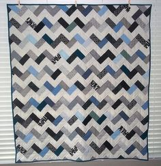 making a chevron quilt like this right now! mine is all cobalt, chocolate and white