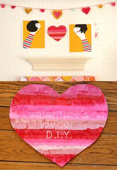 Valentines DIY. Could probably cut out heart, glue strips of streamer or tissue paper! Cute!!