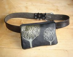 Black Leather Mini Belt Bag with Trees by bonspielcreation on Etsy, $42.00