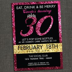SPARKLY BIRTHDAY INVITATION - 30th 40th 50th or any age - Printable or Printed for you. $15.00, via Etsy.