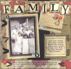 *Family* Heritage layout for Heritage Scrapbooking class - Two Peas in a Bucket by leanne Heritage Scrapbook Pages, Vintage Scrapbook, Scrapbook Page Layouts, Scrapbook Paper Crafts, Scrapbook Supplies, Scrapbook Cards, Scrapbooking Ideas, Picture Scrapbook, Family History Book