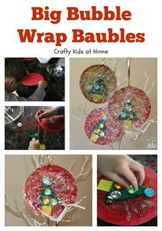 Make and hang some big Bubble Wrap Baubles on your Christmas Tree. A colourful Christmas Junk Art activity for kids of all ages to enjoy making.