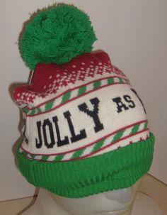 d0bd7bf530864 CHRISTMAS SWEATER JOLLY AS FUC  POM POM BEANIE ADULT HUMOR HAT NEW   SPENCERS  PomPomBeanie