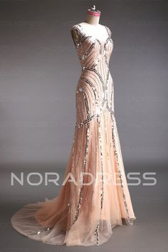 Royal Tulle Natural Waist Wide Straps Evening Dress With Sequined - Noradress