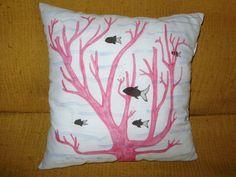 Cuscino in cotone 100% azzurro dipinto a mano con di MarinellArt
