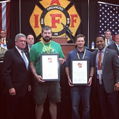 IAFF General President Harold Schaitberger and PFFW President Mahlon Mitchell presenting charters to two new locals, welcoming them to the PFFW. Welcome Dells/Delton EMS and Door County EMS.