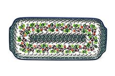Polish Pottery Tray  Appetizer  12  Burgundy Berry Green * Click on the affiliate link Amazon.com on image for additional details.