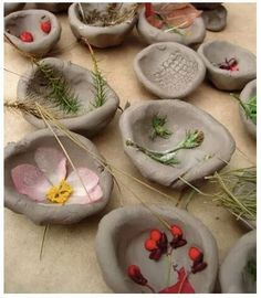 air drying clay nature thub pots