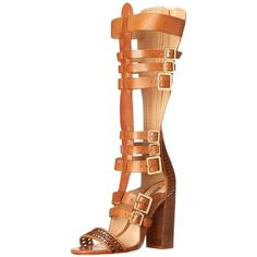 Schutz Women's Yvone Gladiator Sandal ($90) ❤ liked on Polyvore featuring shoes, sandals, schutz, leather sole shoes, woven-leather shoes, woven leather sandals and schutz sandals