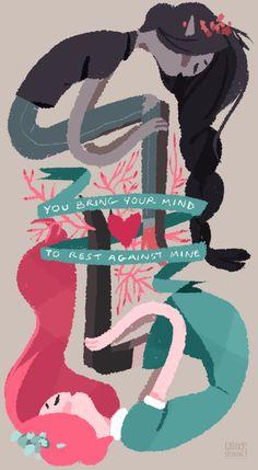 """""""Você traz sua mente para descansar contra o meu, mas a mente não tem nenhuma opinião sobre os assuntos do coração"""" Algum angustiante Bubbline para ir com seus sentimentos"""