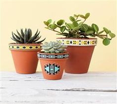 """Embellish a potted plant with some tribal printable vinyl! This file makes three borders: two that are 0.5"""" wide and one that is 0.75"""" wide."""