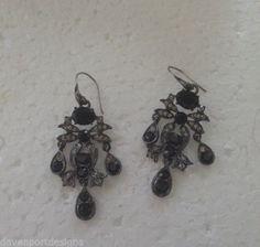 Monet Black & Crystal Accents Dangle Earrings Jewelry Designer Girlfriend Gifts #Monet #DangleEarrings