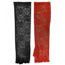 BLACK RED SEXY GOTHIC FLORAL LACE ELBOW LONG FINGERLESS EVENING PARTY GLOVES