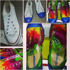 My 1st attempt with tie dying my white chucks