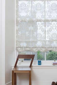 Custom Roller Shades ~ The Tracey Bathroom Window Coverings, Window Blinds, Window Roller Shades, Roller Blinds, Wood Valance, Damask Curtains, Modern Craftsman, Craftsman Style, Thing 1