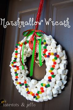 Whimsical, Marshmallow & Gumdrop Christmas Wreath from Tatertots & Jello. Would be cute for a candy land party Holiday Wreaths, Holiday Crafts, Christmas Decorations, Marshmallows, All Things Christmas, Christmas Holidays, Merry Christmas, Natal Diy, Whimsical Christmas