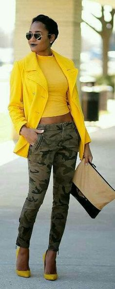 Discover this look wearing Mustard Old Navy Coats - Camo + Mustard by thedaileigh styled for Chic, Everyday in the Winter Camo Fashion, Fashion Mode, I Love Fashion, Fashion Looks, Fashion Outfits, Womens Fashion, Fashion Trends, Fashion Finder, Lolita Fashion