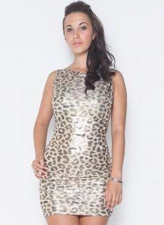Leopard Foil Print Bodycon Sleeveless Dress,  Dress, animal print dress  body con fit, Chic