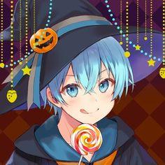 Anime Chibi, Moe Anime, Anime Girl Neko, Cute Anime Boy, Manga Anime, Anime Art, Blue Hair Anime Boy, Dark Anime Guys, Anime Halloween
