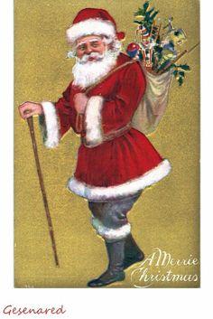 Santa Claus fancy gold embossed greeting vintage postcard