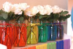 Clare's Rainbow Party Cute floral arrangment idea for a Rainbow themed party via TomKat Studio Pony Party, My Little Pony Birthday Party, Rainbow Birthday Party, Rainbow Theme, Rainbow Wedding, 6th Birthday Parties, Rainbow Baby, Rainbow Water, Rainbow Colors