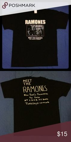 Meet the Ramones T-shirt - Black shirt - America's first original punk band on the front - A shirt that was given out when you went to meet the Ramones in New York in the 90s Shirts Tees - Short Sleeve