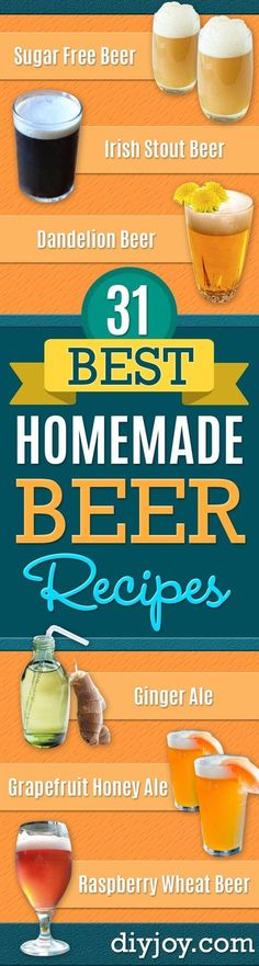 Best Homemade Beer Recipes - Easy Homebrew Drinks and Brewing Tutorials for Craft Beers Made at Home - IPA, Summer, Red, Lager and Ales - Instructions and Step by Step Tutorials for Making Beer at Home http://diyjoy.com/homemade-beer-recipes #homebrewingrecipesbeer