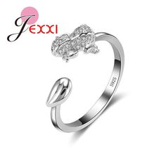 Black White Gold Tone Crystal Toad Frog Fashionable Smile Happy Adjustable Ring