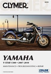 Yamaha V-Star Manual (1300 Series) -     This Clymer motorcycle service and repair manual covers the Yamaha VStar 1300 Series for these years: 2007-2010.  The Yamaha V-Star manual by Clymer is the best reference book for repair and service information for your Yamaha V-Star.