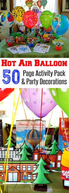 My kids love hot air balloons and this is a super cute and creative way to host a Hot Air Balloon party or animated story time. FREE Hot Air Balloon 50 Page Activity Pack and Party Decorations from HappyandBlessedHome.com #SnackPackMixins #ad Imaginative and creative fun for a Kid's Birthday Party with fun ideas for games and kid's activities including some great library books!