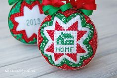 Beauty Christmas Ornament Decoration Ideas are new, sparkly that fit the times. Discover more Christmas decorating ideas, homemade Christmas ornaments, from the familyholiday. Cross Stitch Christmas Ornaments, Christmas Ornament Crafts, Christmas Ornaments To Make, Personalized Christmas Ornaments, Christmas Cross, Handmade Ornaments, Holiday Crafts, Homemade Christmas, Folded Fabric Ornaments