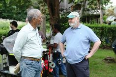 "Morgan Freeman and producer/director Rob Reiner talk inbetween shots on the set of ""The Magic of Belle Isle"", 2012."