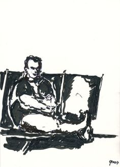 Bart Jan Bakker, Man seated at the airport on ArtStack #bart-jan-bakker #art