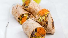 Sweet Potato Burritos, Stuffed Peppers with Squash, Black Beans and Corn - courtesy of Dr. Neal Barnard