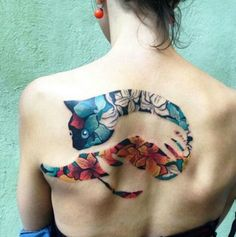 Large cat back tattoo
